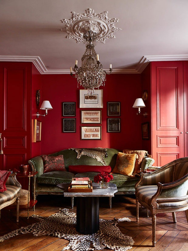 A Red And Green Living Room, Image Courtesy Of Houzz.com Part 70