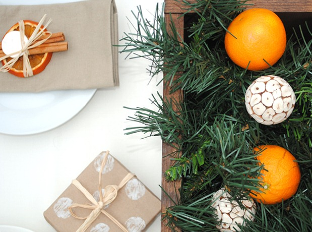 Festive Rustic Table Setting