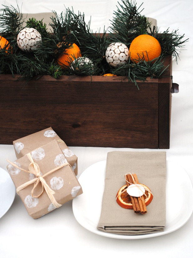 Holiday Table Setting with Oranges