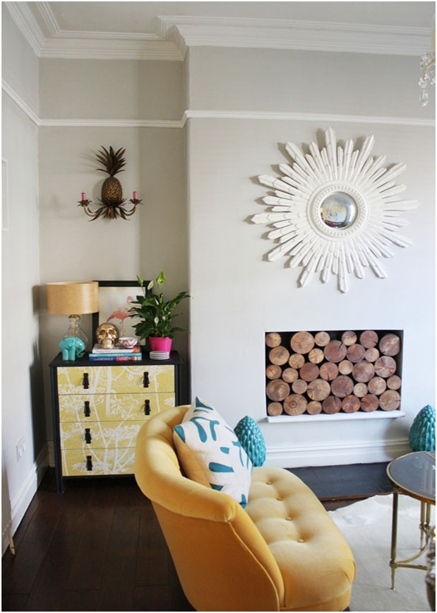 yellow-sofa-living-room-tufted-dresser-glam