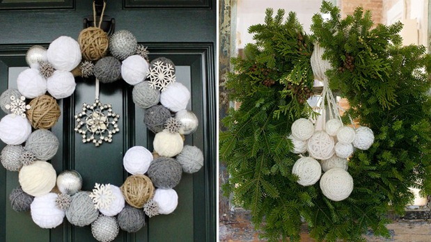 Yarn Ball Wreaths