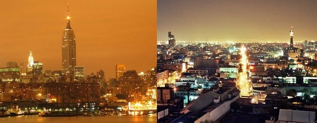 Sky glow-NYC and Mexico City