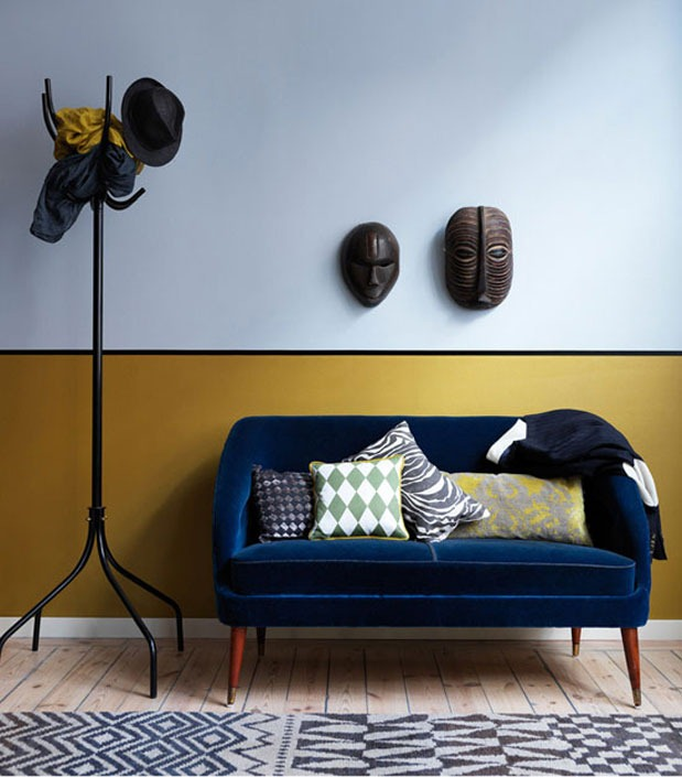 Blue-Velvet-Sofa-Mustard-Wall-Mid-Century-Modern-Coat-Rack