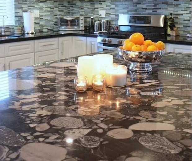 Contemporary kitchen with maranice granite countertops via Houzz