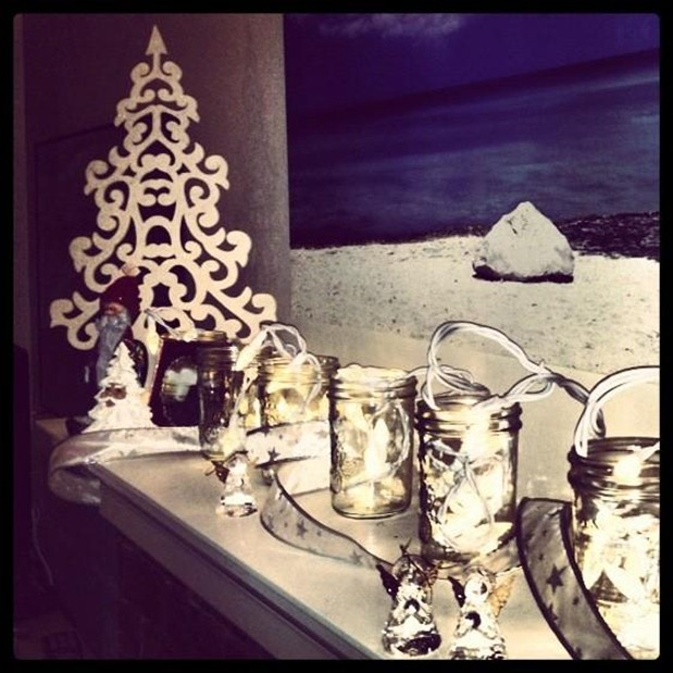 Holiday Mantle with Mason Jars
