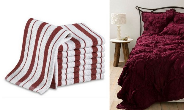 Oxblood_dish cloths and bedding