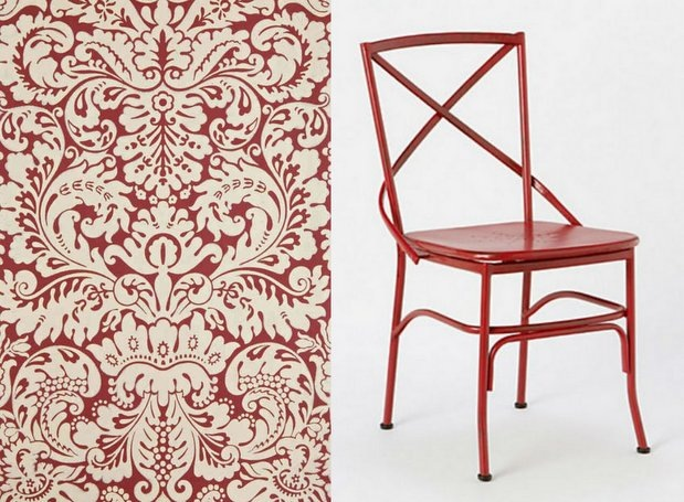 Oxblood_wallpaper and dining chair