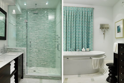 grey and aqua shower tiles complement the turquoise curtains and accent pieces while adding pattern colour and contrast