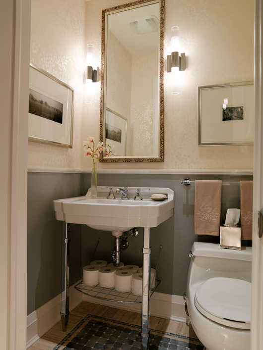 Marvelous Last From Season 1, Sarah Demonstrates How A Small Powder Room Can Have  Large Impact With A Custom Tile U201crugu201d And A Leggy Vintage Sink.