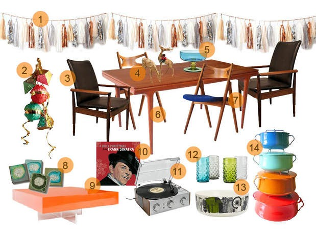 Mad Men Decor mid mod mood board: holiday table inspiredmad men