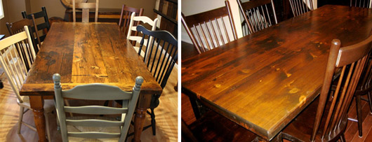 new & now, splurge vs. steal: reclaimed harvest tables