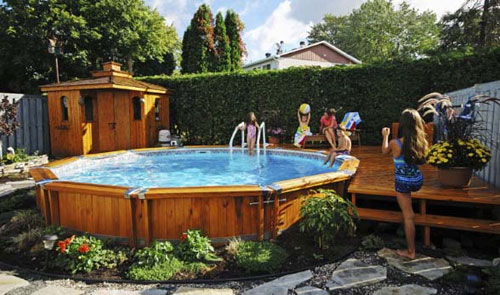 Above Ground Pool Ideas For Small Backyard : Wooden above ground and semi inground pools are in demand This year