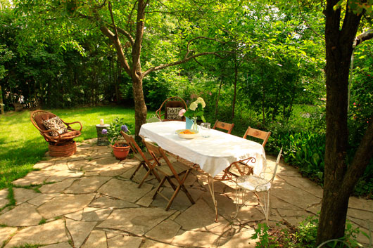 we chose an irregular organic shape for the patio to keep with the