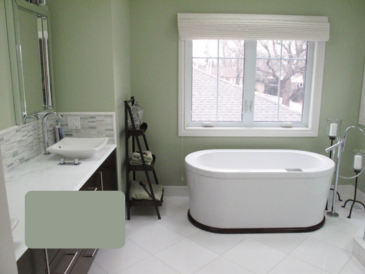 chose a soft pale green for their ensuite from house of bryan paint