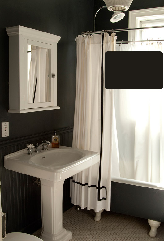 ' black bathroom -- dramatic, right? But still pretty amazing. Paint ...