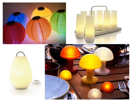 White battery operated table lamps