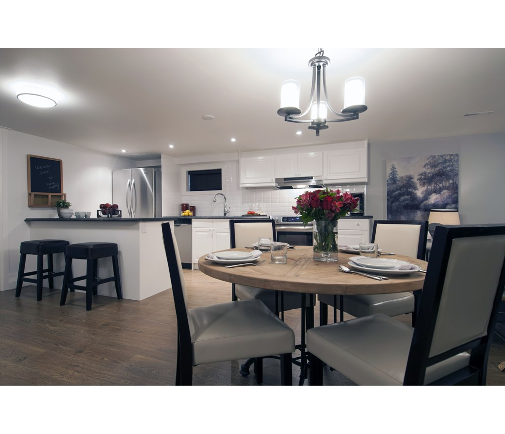 Contemporary Basement Kitchen & Dining Room