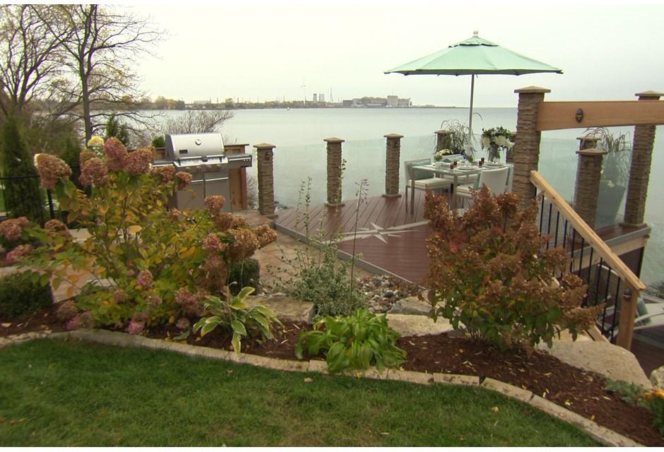 A modern waterfront deck photos hgtv canada for Waterfront deck designs