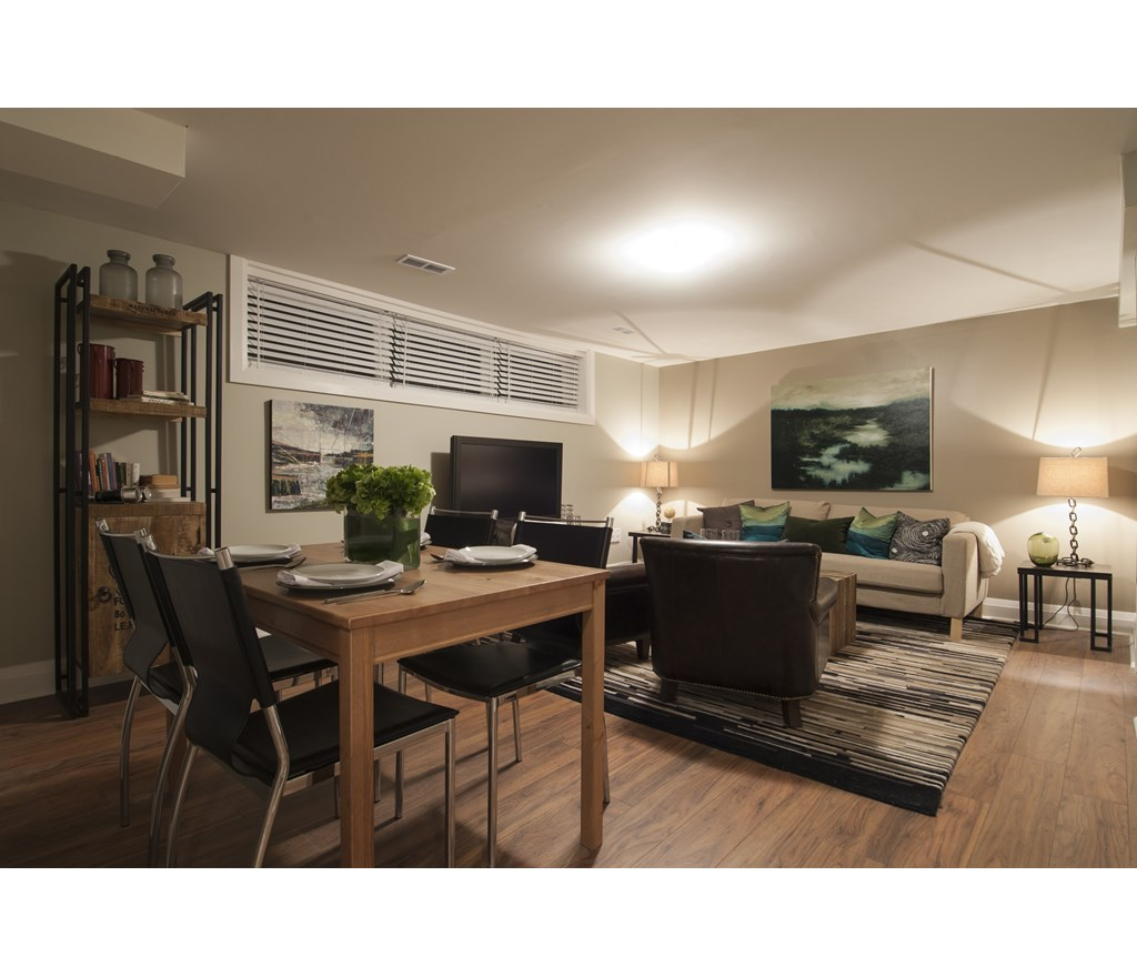 Contemporary Basement Living And Dining Area