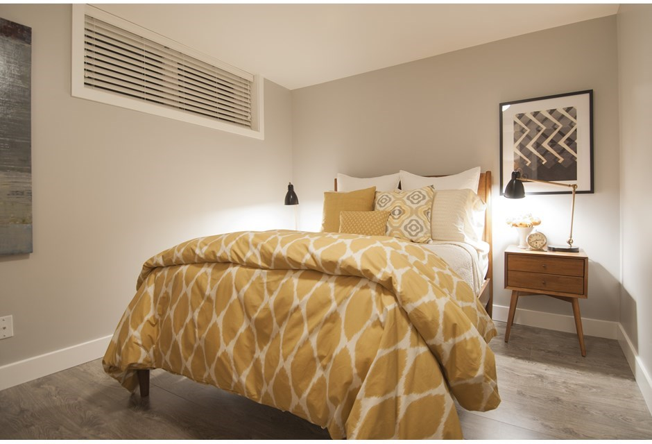 A bright beautiful basement makeover from income property for Turning a basement into a bedroom
