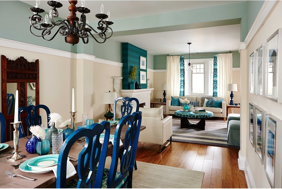 inspiring red turquoise living room | Turquoise Inspired Living & Dining Room