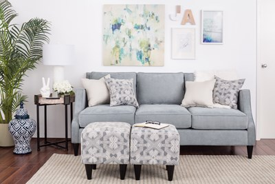 Contemporary living room with grey couch