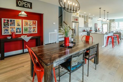 Kortney Wilson creates a modern-meets-vintage duplex with hits of red