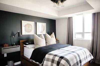 Masculine condo bedroom
