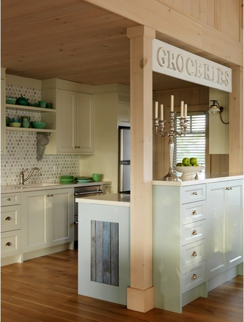 Green and aqua blue cottage style kitchen by #SarahRichardson with Groceries #vintagesign and marble mosaic backsplash