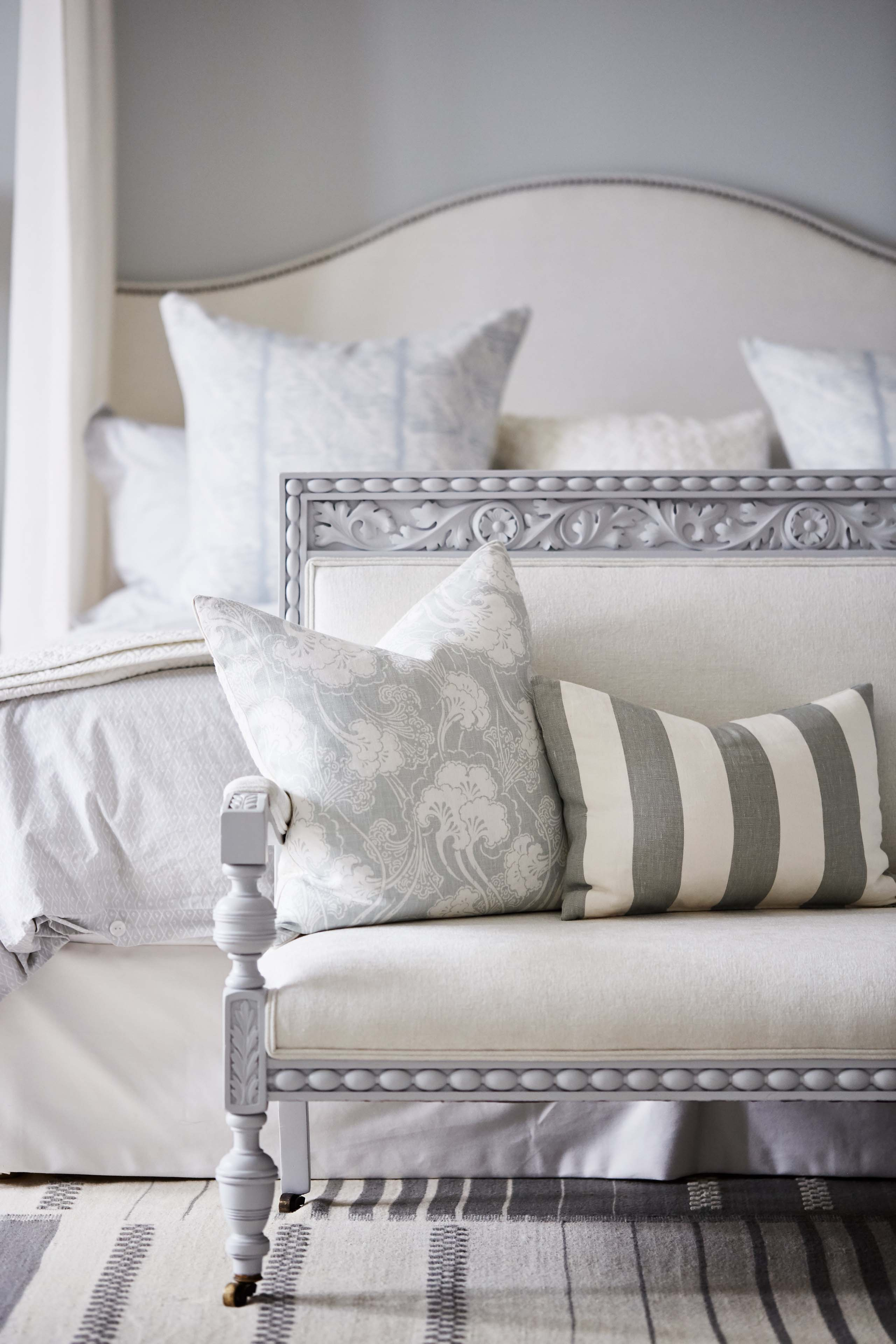 Soft, simple and serene palette of neutrals and aquas in #SarahRichardson master bedroom with linen and blue grey walls