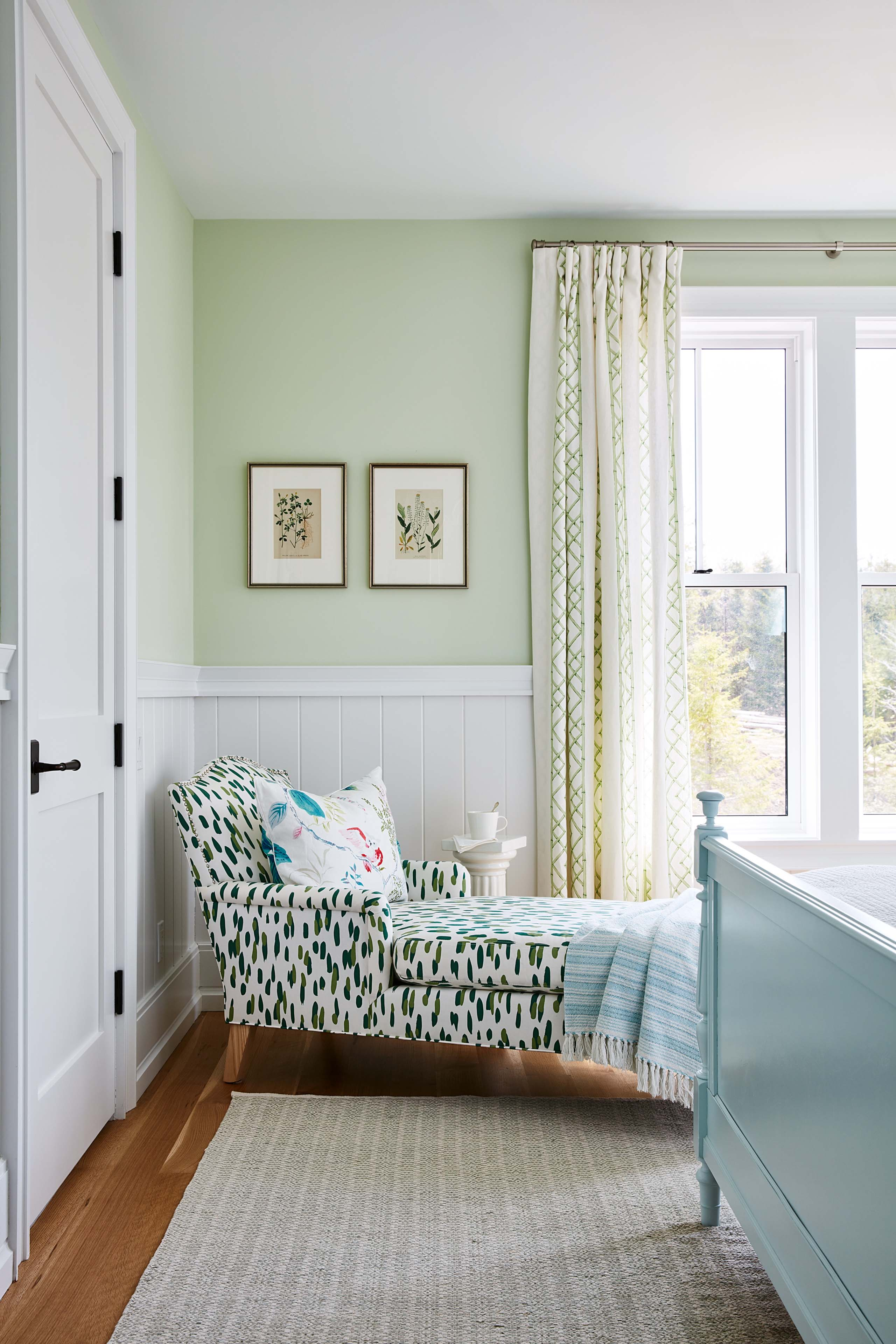 Light green walls in cottage style bedroom with long chaise. #SarahRichardson #cottagedecor #lightgreenwalls