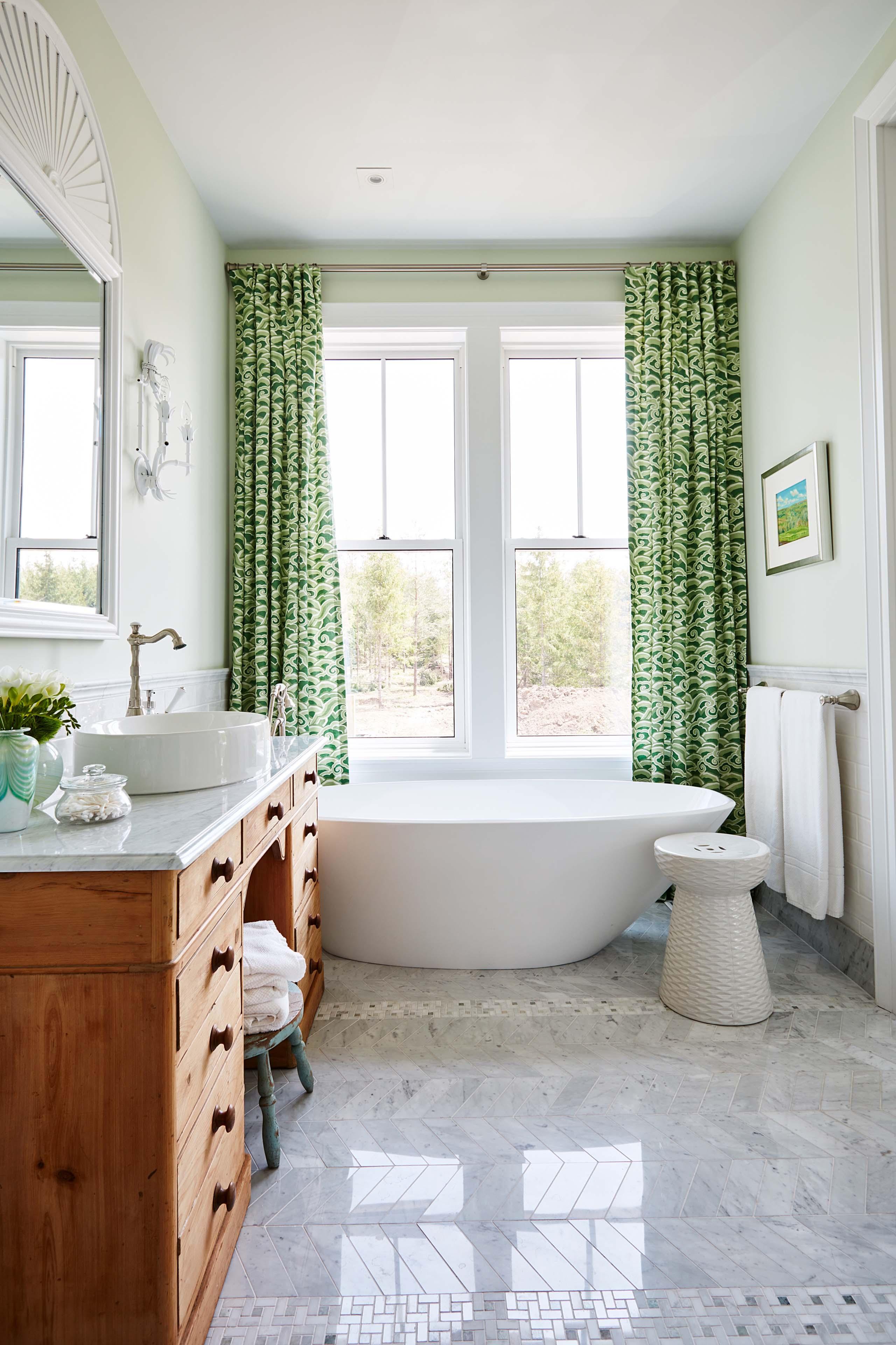 Green and white bathroom with classic design by #SarahRichardson #greenandwhite #marbleherringbone