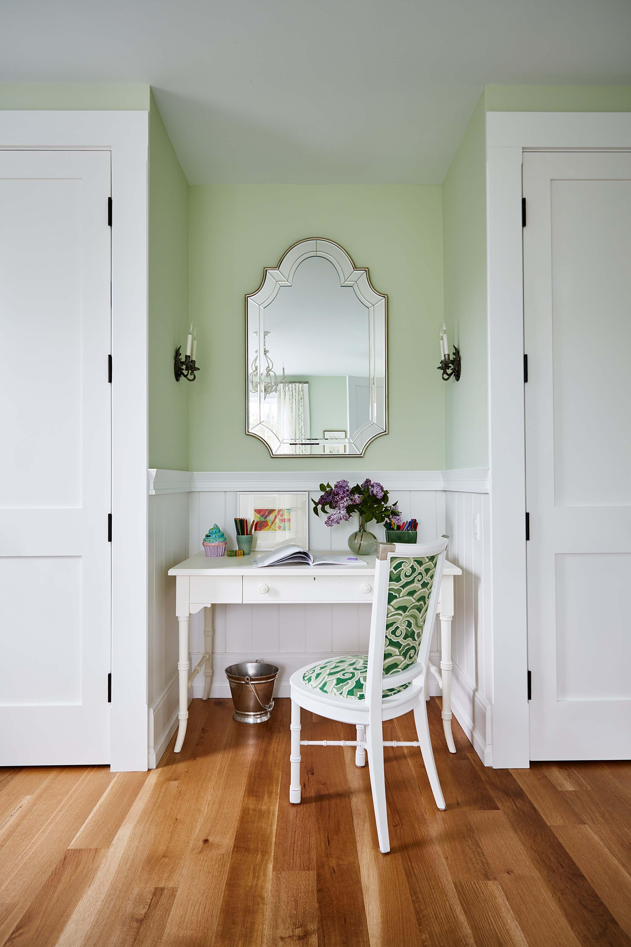 Cottage green walls in bedroom with white woodwork. #SarahRIchardson #cottagebedroom #lightgreenwalls