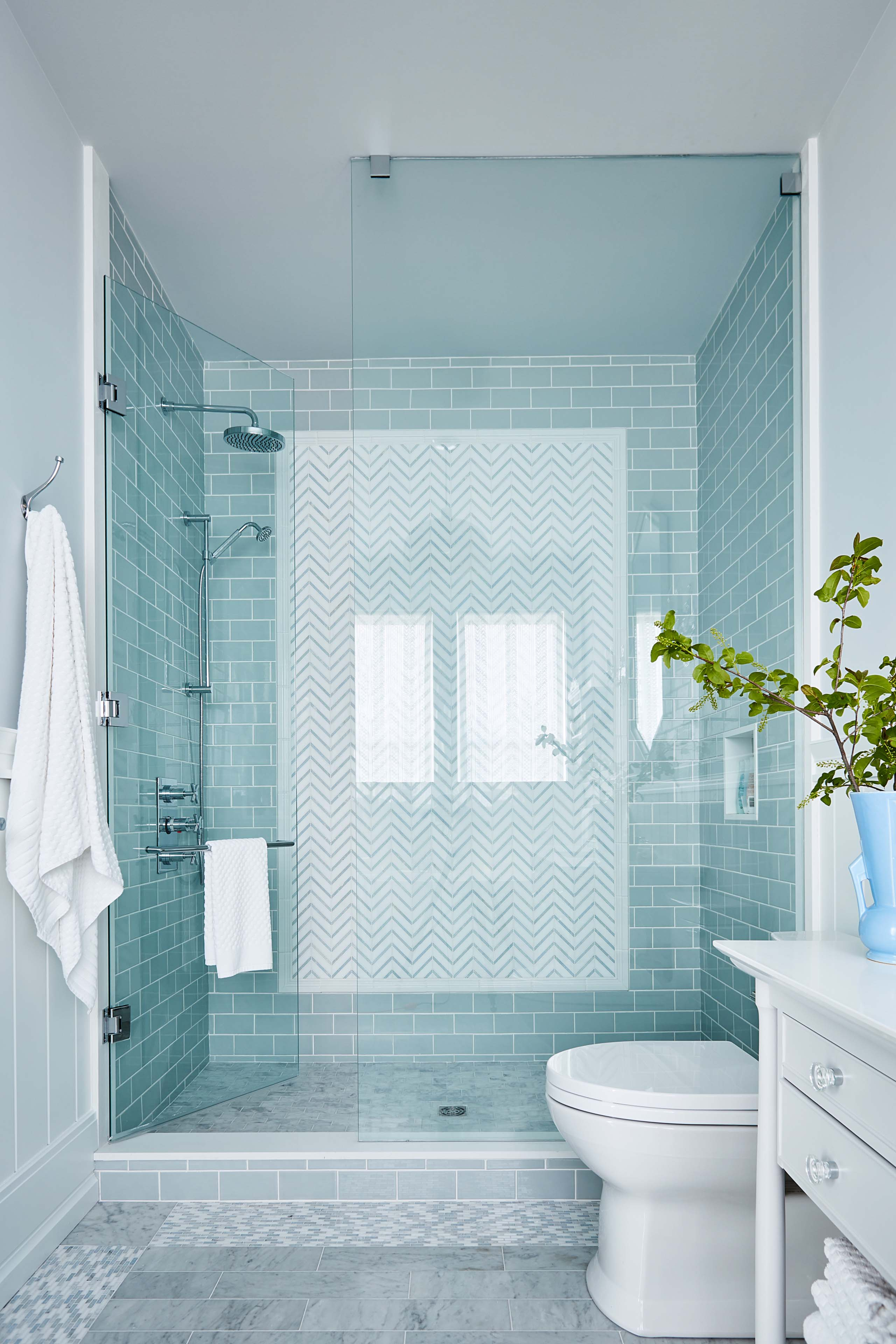 Aqua subway tiles in shower by #SarahRichardson with #glasswall and #classicdesign