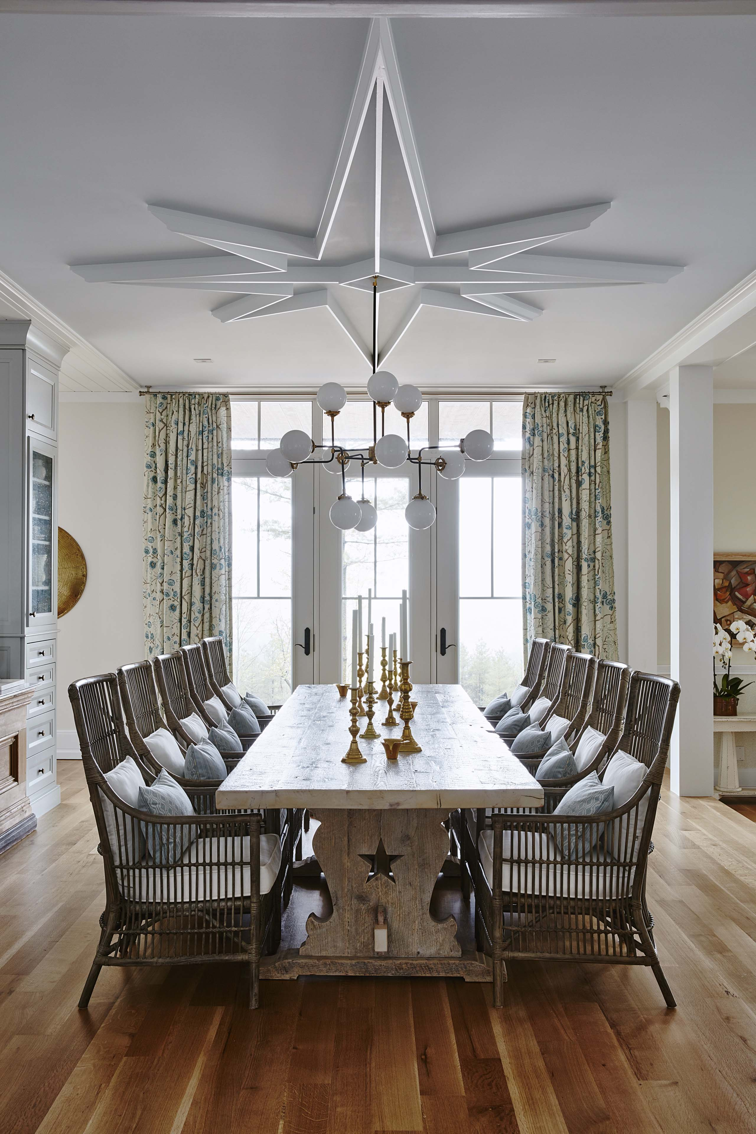 Modern farmhouse dining room with rustic farm table and statement medallion at ceiling. #SarahRichardson #farmhousediningroom