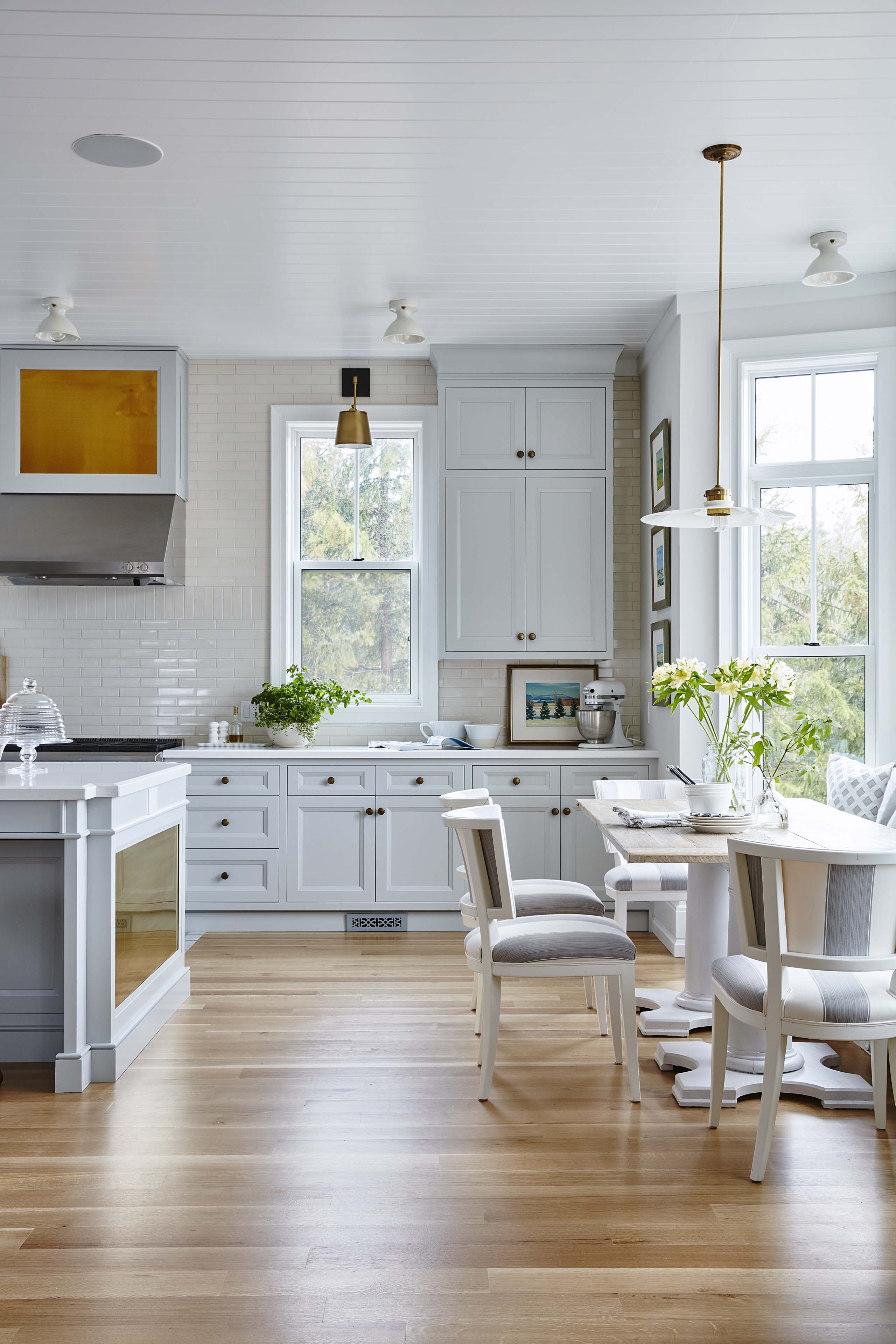 Gorgeous modern farmhouse kitchen with beadboard ceiling and grey Shaker style cabinets. #SarahRichardson #modernfarmhouse #farmhousekitchen #moderncountry